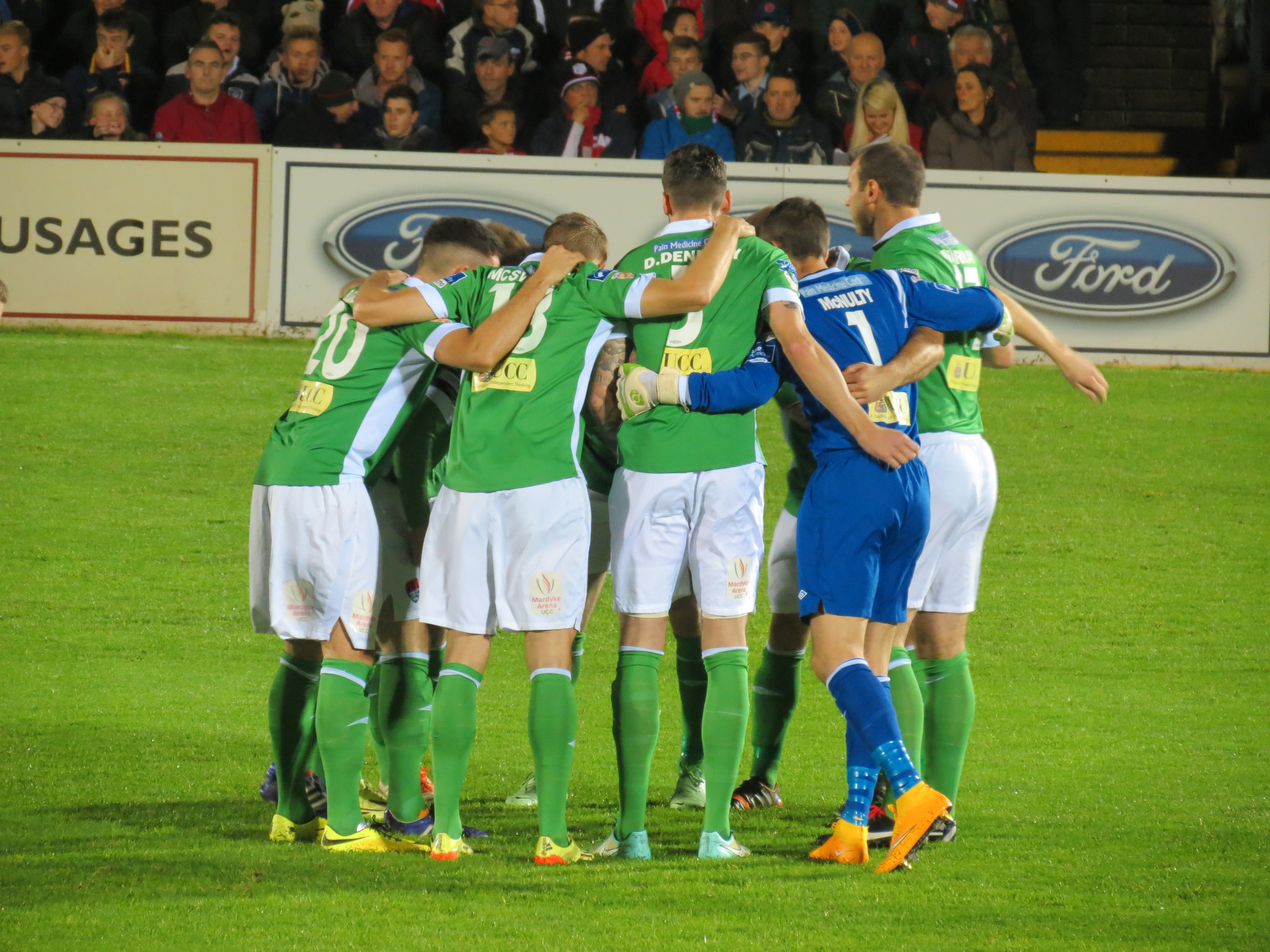 Cork City FC, John Caulfield's Rebel Army in a team huddle before their League of Ireland game against Bohemians FC at Turners Cross on October 17th 2014