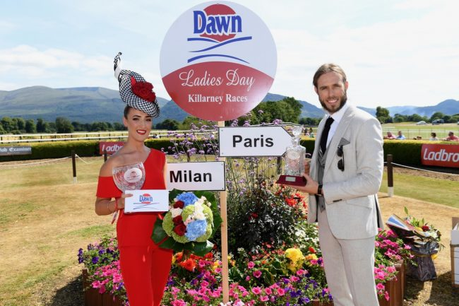 Fiona McSweeney from Killarney winner of the style stakes at the Dawn Milk Ladies Day in Killarney on Thursday. Michael Dorgan from Cork won the Dawn Milk Best Gent Competition. Photo By Domnick Walsh