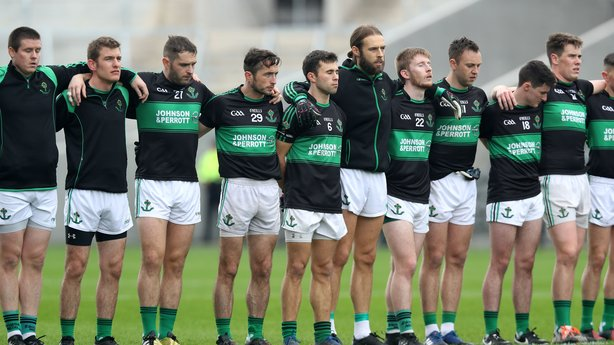 Nemo Rangers Team stand for the national anthem in Paírc Uí Chaoimh before the 2017 County Final RTE