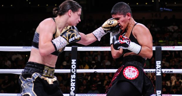 Katie Taylor in action against Cindy Serrano in her WBA & IBF female lightweight world title defence. Photograph: Emily Harney/Inpho