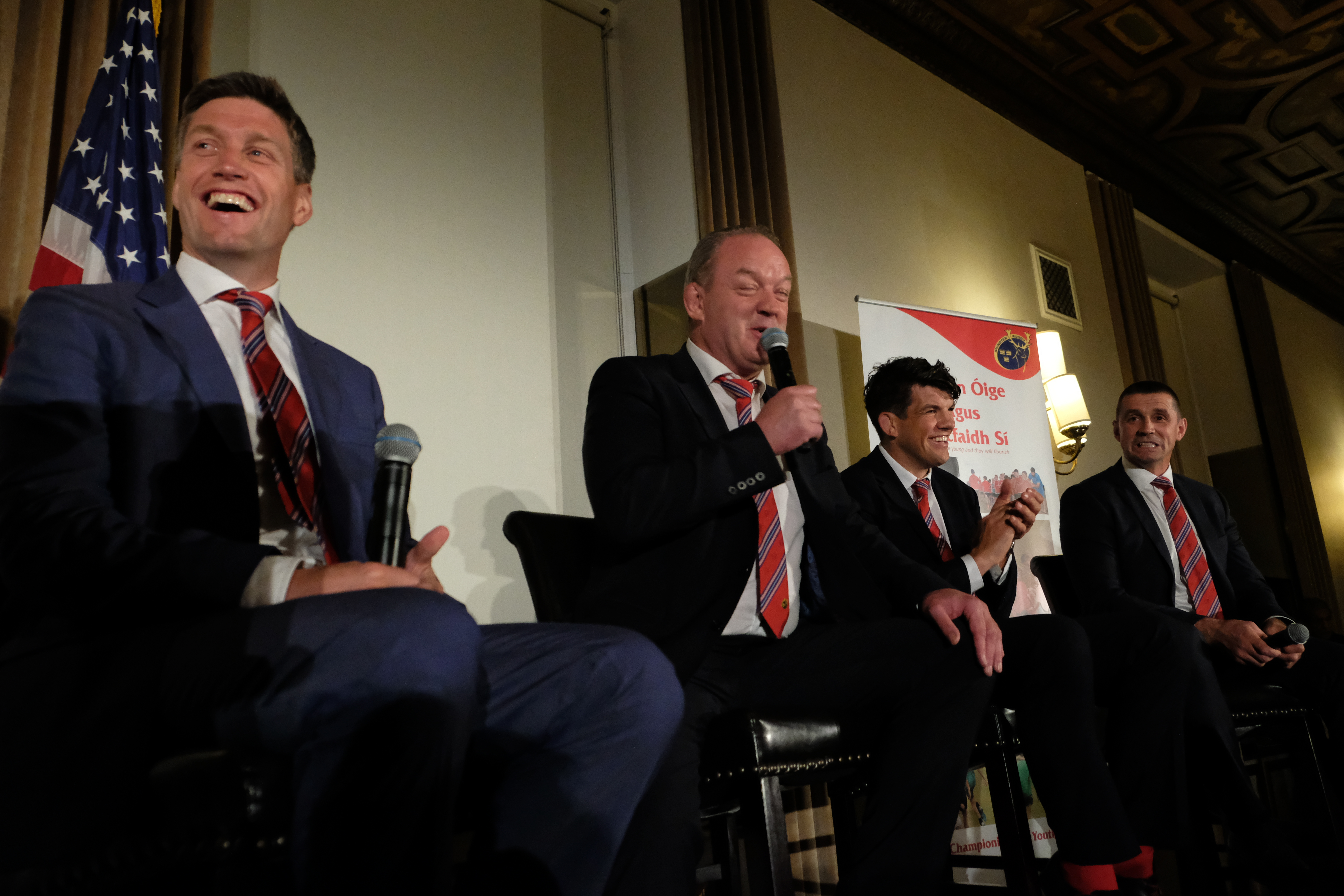 At the Munster Rugby banquet at The Athletic Club in Manhattan, New York, were Ronan O'Gara, Mick Galwey, Donncha O'Callaghan, and Alan Quinlan.