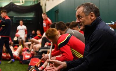 John Meyler and his players in the dressing room at Fenway Park. Picture: Piaras Ó Mídheach/Sportsfile