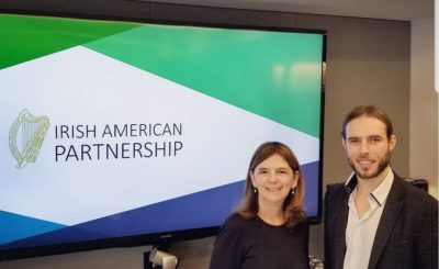 Irish American partnership chief executive Mary Sugrue with New York based journalist Michael Dorgan at the Partnerships breakfast gathering at Clune Construction, New York, USA