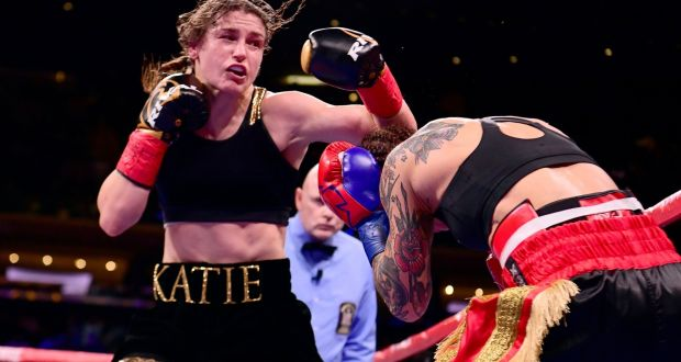 Katie Taylor on her way to victory over Eva Wahlstrom at Madison Square Garden, New York City