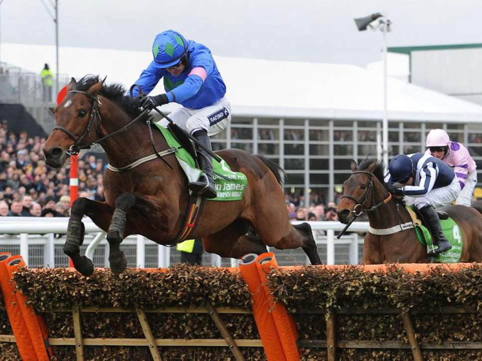 Hurricane Fly, with Ruby Walsh up, jumps the last flight on his way to victory in the Champion Hurdle ( PA )