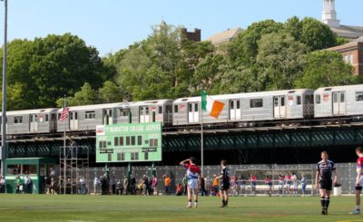 A subway train passes by Gaelic Park as New York face Sligo in a Connacht SFC quarter-final. Throughout the summer, Gaelic Park offers a feast of GAA activity. Picture: Ed Mulholland