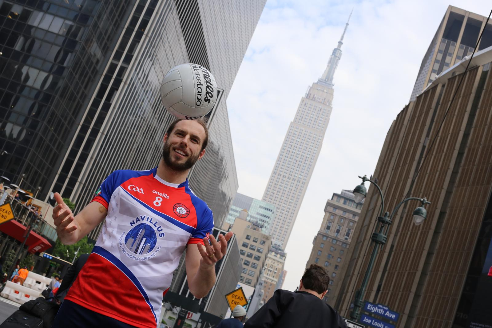 Michael Dorgan in his New York GAA gear before Sundays clash with National League champions Mayo. Image: Seamus Kiernan