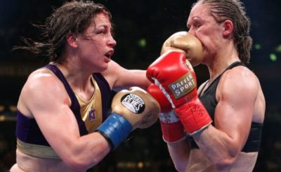 Katie Taylor and Delfine Persoon during their world lightweight championship fight at Madison Square Garden, New York. Photograph: Inpho/Matchroom Boxing/Ed Mulholland