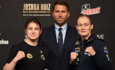 Katie Taylor with Saturday night's opponent Delfine Persoon. Photograph: Jeff Fusco/Inpho