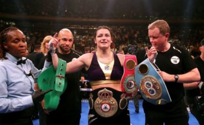 Katie Taylor celebrates her win against Delfine Persoon in the IBF, WBC, WBO, WBA, Ring Magazine Women's Lightweight World Championships fight at Madison Square Garden, New York. Photograph: Nick Potts/PA Wire
