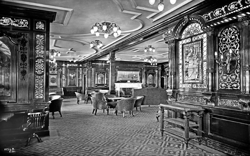 The RMS Olympic 's smoke room, very similar to Titanic 's. A picture taken from the starboard side of the first class smoke room, reserved for gentlemen only. This room was also the place where Harland & Wolff director Thomas Andrews was last seen as the Titanic sank. Image: Wikipedia