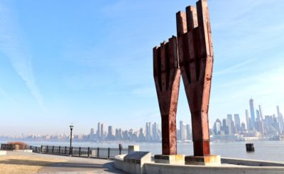 Weehawken, New Jersey; Two trident-shaped beams stand in memory of all those who died on September 11, 2001. Image: Michael Dorgan