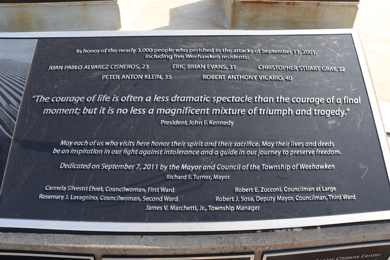 9/11 Memorial in Weehawken, New Jersey; Image: Michael Dorgan