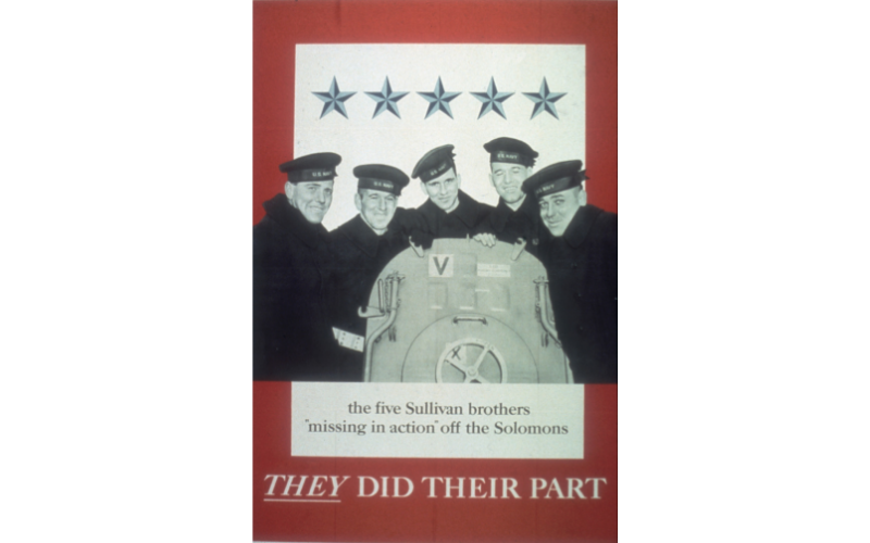 Poster features a photo of the five Sullivan brothers as they pose (on board the USS Juneau (CL-52), accompanied by the text 'the five Sullivan brothers 'missing in action' off the Solomons; They Did Their Part,' New York, February 1942. Image: Wikipedia