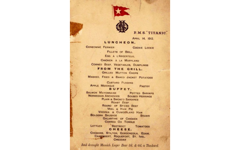 First-class lunch menu on the Titanic, April 14, 1912. Image: Wikipedia