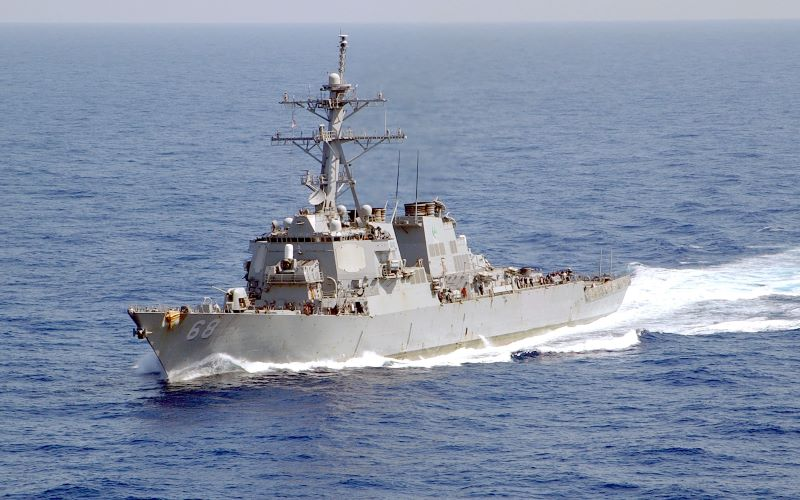 The guided missile destroyer USS The Sullivans transits the Mediterranean Sea in 2002. Image: Wikipedia