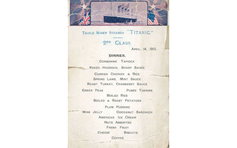 Second-class menu on Titanic, April 14, 1912. Image: Wikipedia