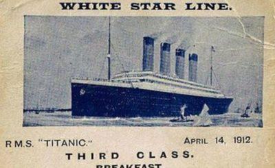 The Titanic third class menu