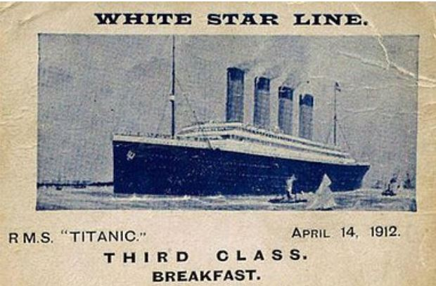 The Titanic third class menu