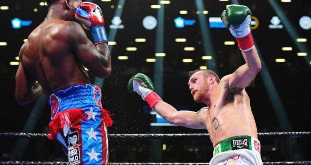 Jermall Charlo stopped Dennis Hogan in the seventh in New York. Photograph: Emilee Chinn/Getty