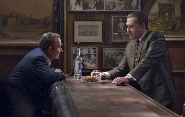 Al Pacino (L) stars as Jimmy Hoffa and Robert De Niro (R) as Frank